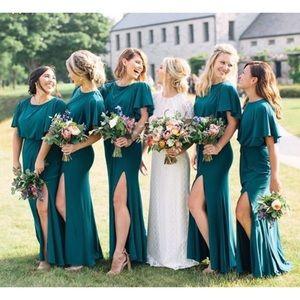BHLDN Lena Green Flutter Sleeve Blousen Dress